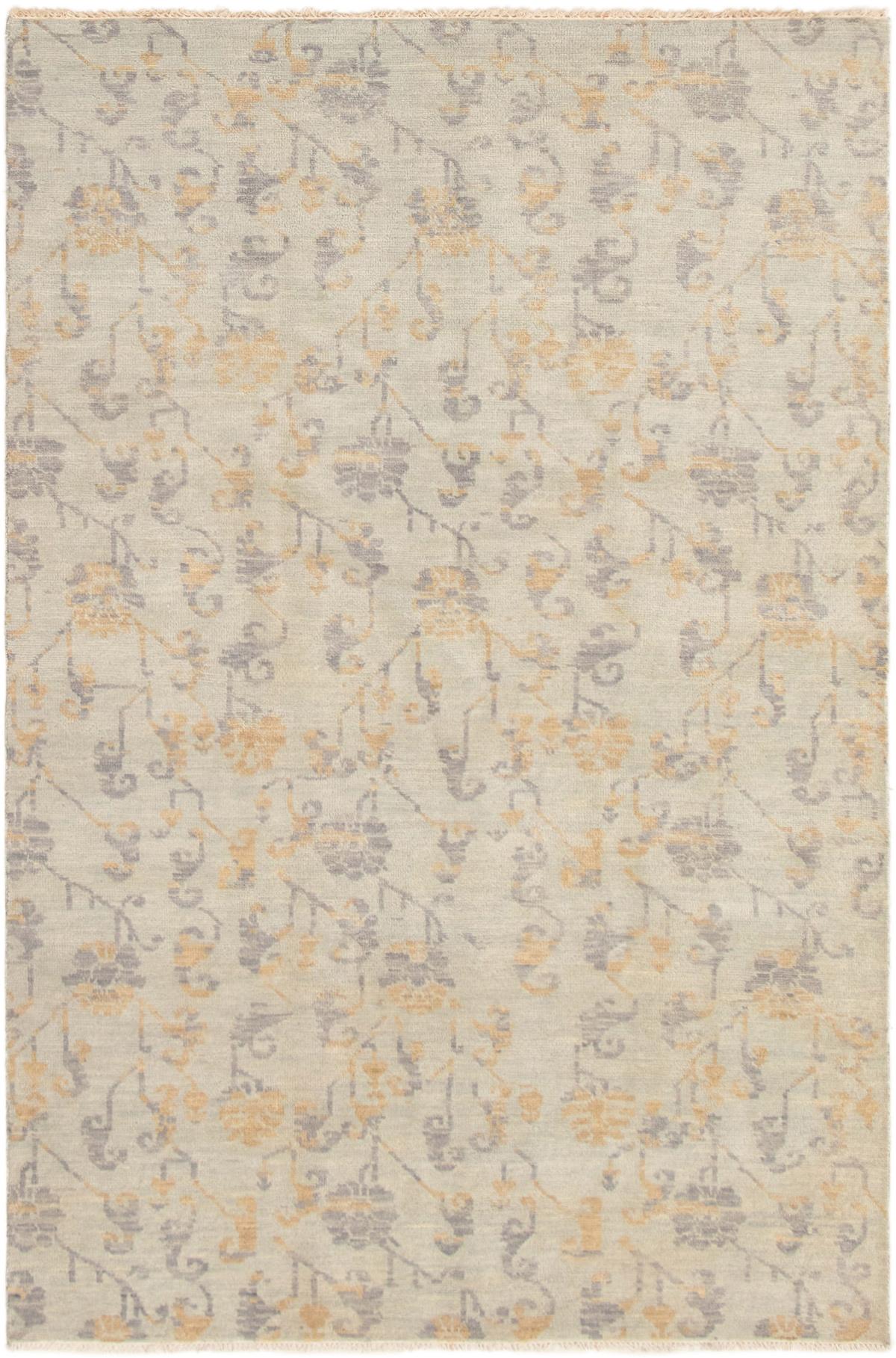 "Hand-knotted Finest Ushak Light Blue  Wool Rug 6'0"" x 9'0"" Size: 6'0"" x 9'0"""