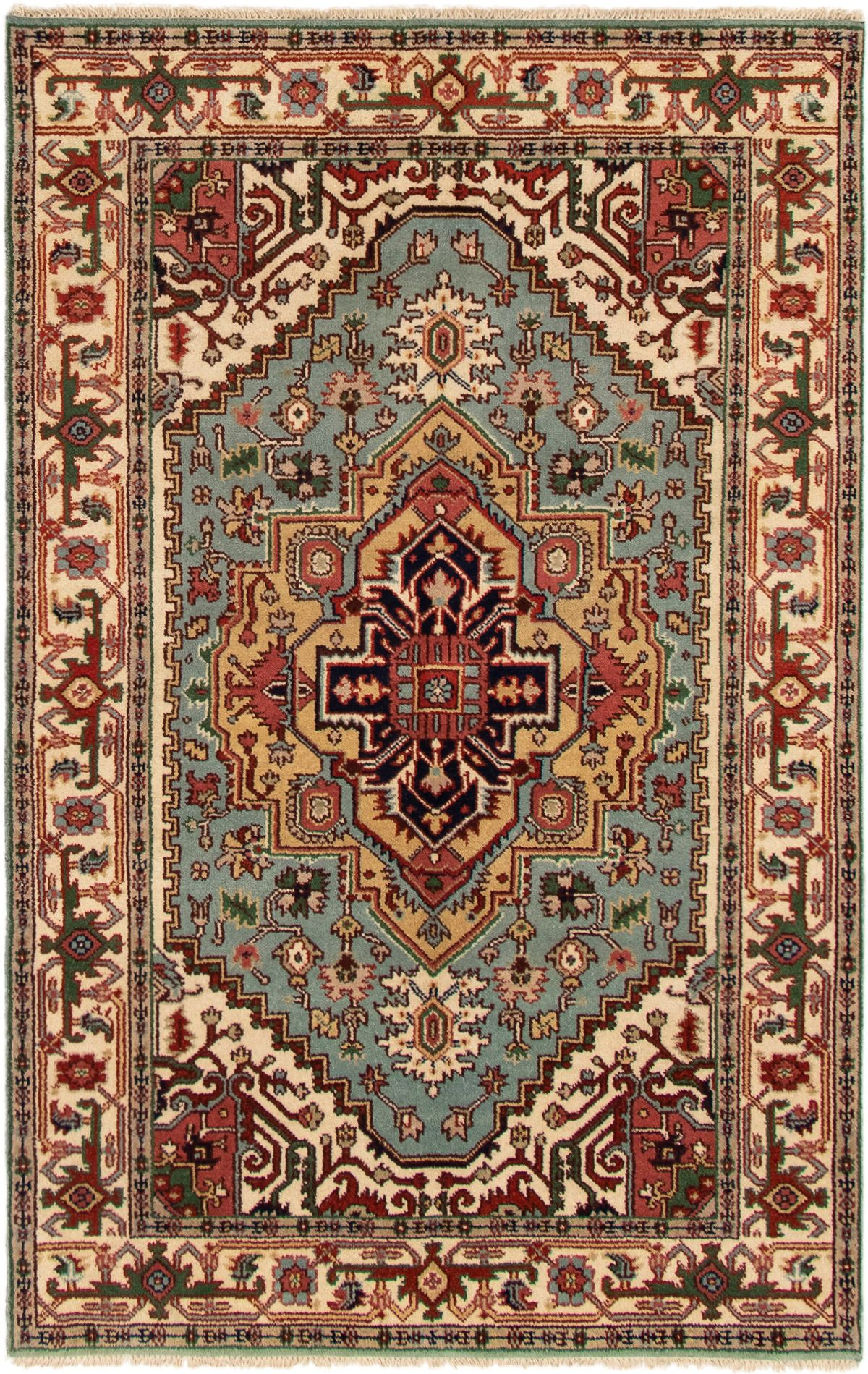 """Hand-knotted Serapi Heritage Light Blue  Wool Rug 5'2"""" x 8'1"""" Size: 5'2"""" x 8'1"""""""