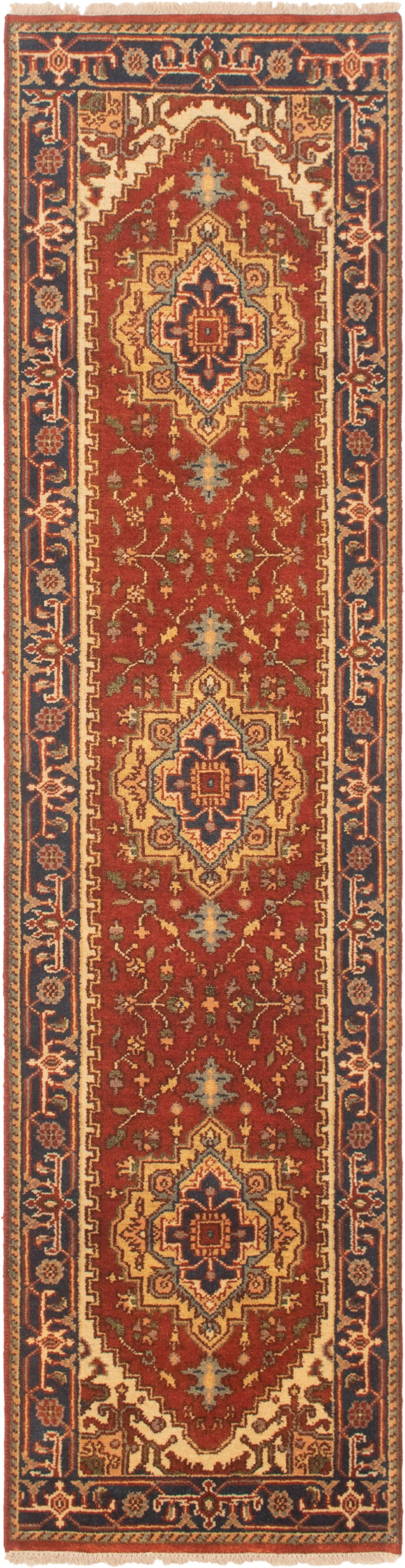 """Hand-knotted Serapi Heritage Dark Copper Wool Rug 2'6"""" x 10'0"""" (27) Size: 2'6"""" x 10'0"""""""