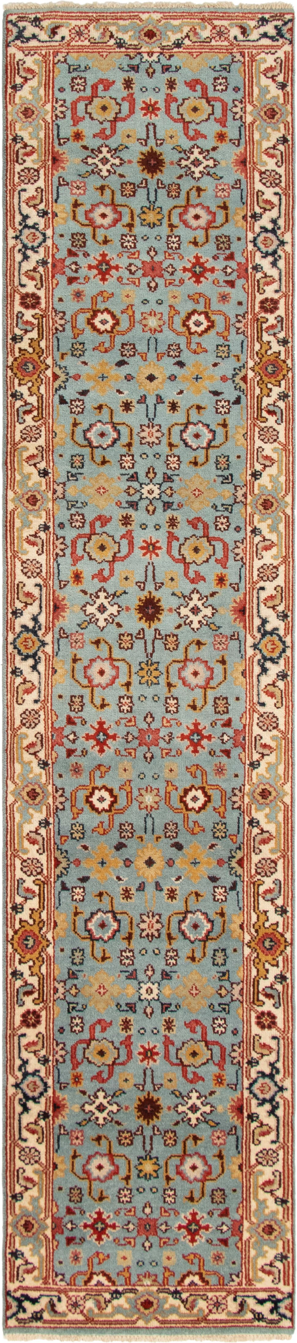 """Hand-knotted Serapi Heritage Light Blue  Wool Rug 2'7"""" x 12'4"""" Size: 2'7"""" x 12'4"""""""