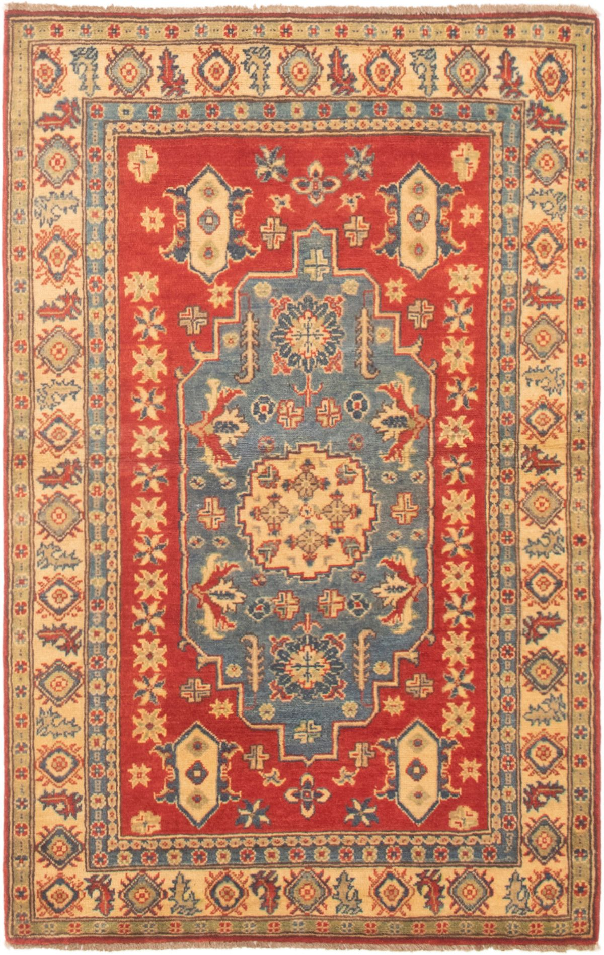 """Hand-knotted Finest Gazni Copper, Slate Blue Wool Rug 3'11"""" x 6'2"""" Size: 3'11"""" x 6'2"""""""