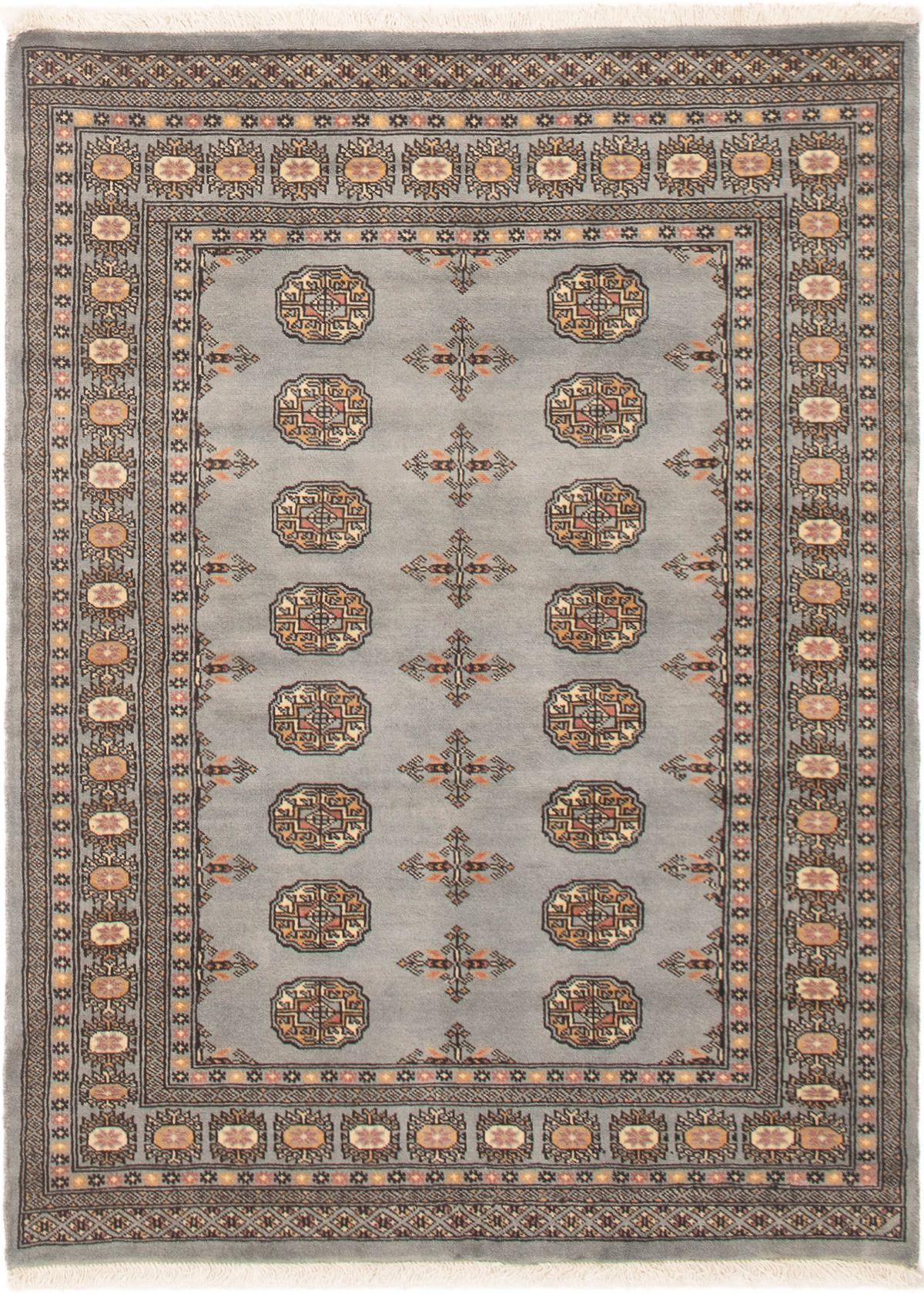 "Hand-knotted Finest Peshawar Bokhara Light Blue  Wool Rug 3'11"" x 5'4"" Size: 3'11"" x 5'4"""