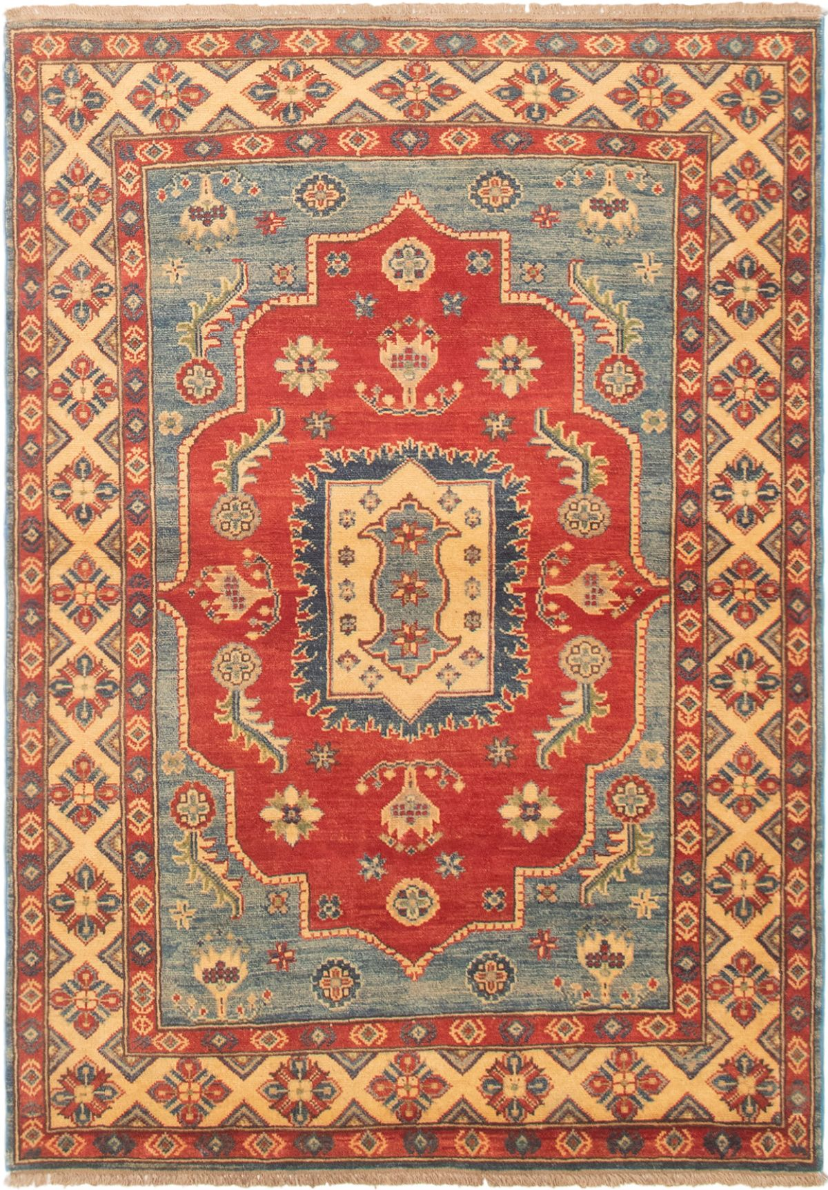 """Hand-knotted Finest Gazni Copper, Light Blue  Wool Rug 3'11"""" x 5'9"""" Size: 3'11"""" x 5'9"""""""