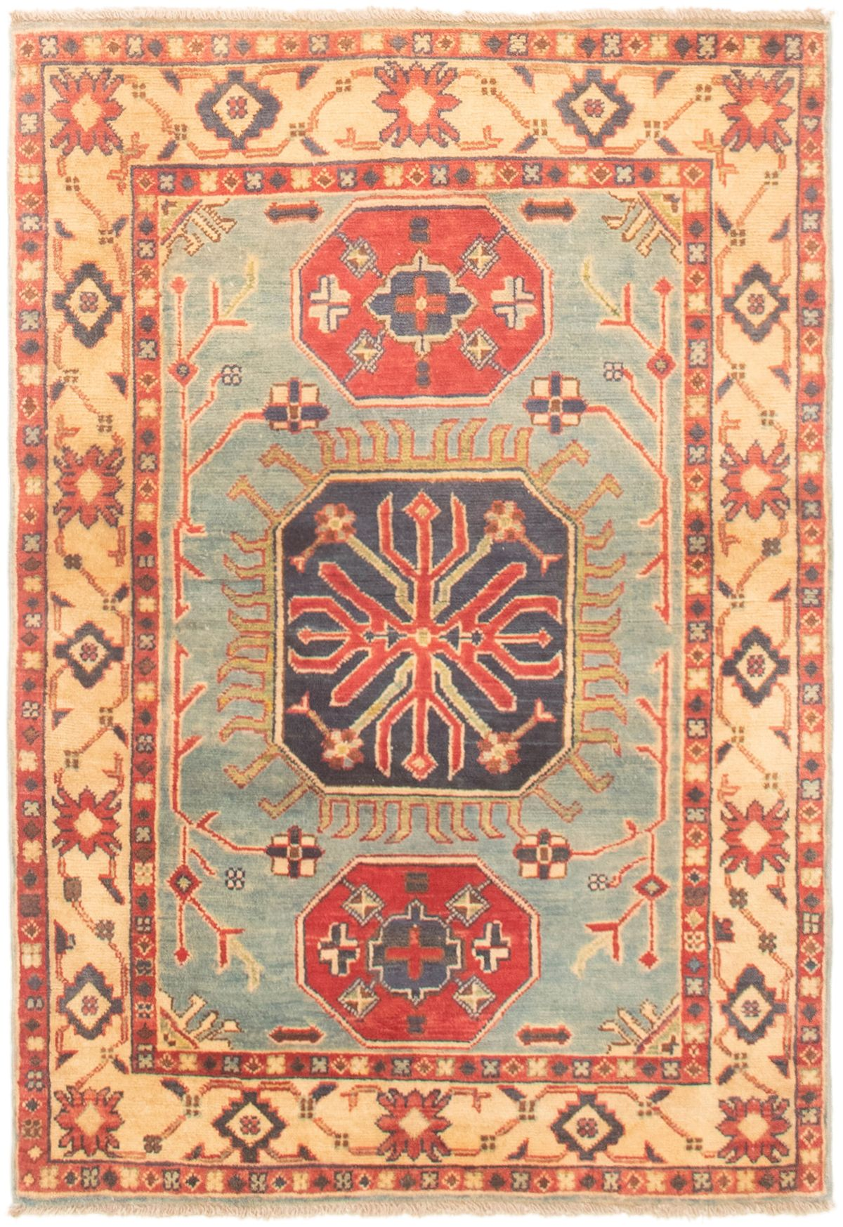 """Hand-knotted Finest Gazni Light Blue  Wool Rug 3'3"""" x 4'9"""" Size: 3'3"""" x 4'9"""""""