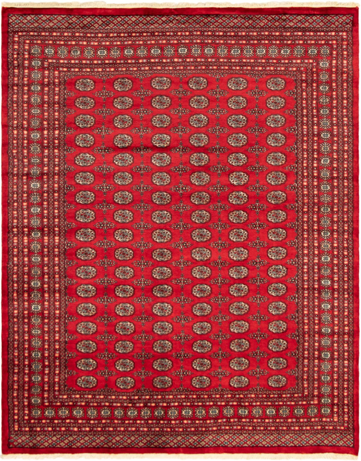 """Hand-knotted Finest Peshawar Bokhara Red Wool Rug 8'2"""" x 10'2"""" Size: 8'2"""" x 10'2"""""""