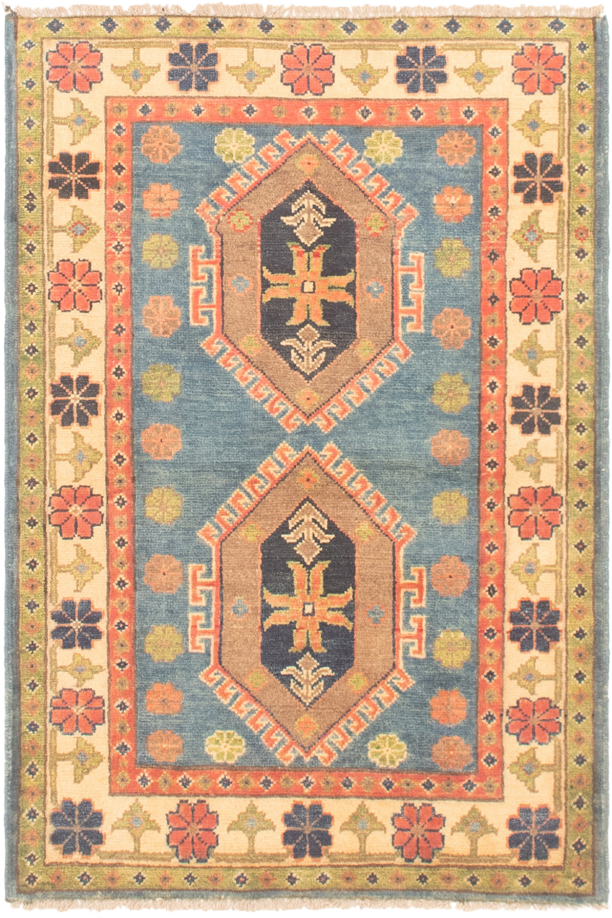 """Hand-knotted Finest Gazni Copper, Slate Blue Wool Rug 2'8"""" x 4'1"""" Size: 2'8"""" x 4'1"""""""