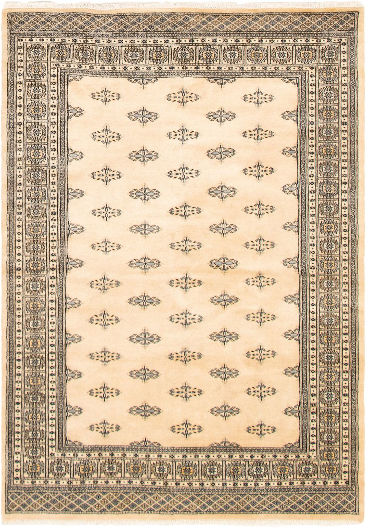 """Hand-knotted Finest Peshawar Bokhara Ivory Wool Rug 5'5"""" x 7'8"""" Size: 5'5"""" x 7'8"""""""