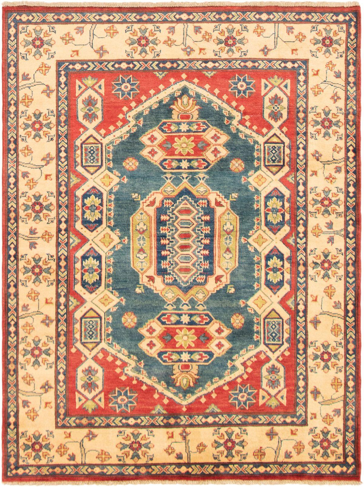 "Hand-knotted Finest Gazni Dark Blue, Red Wool Rug 5'0"" x 6'7"" Size: 5'0"" x 6'7"""