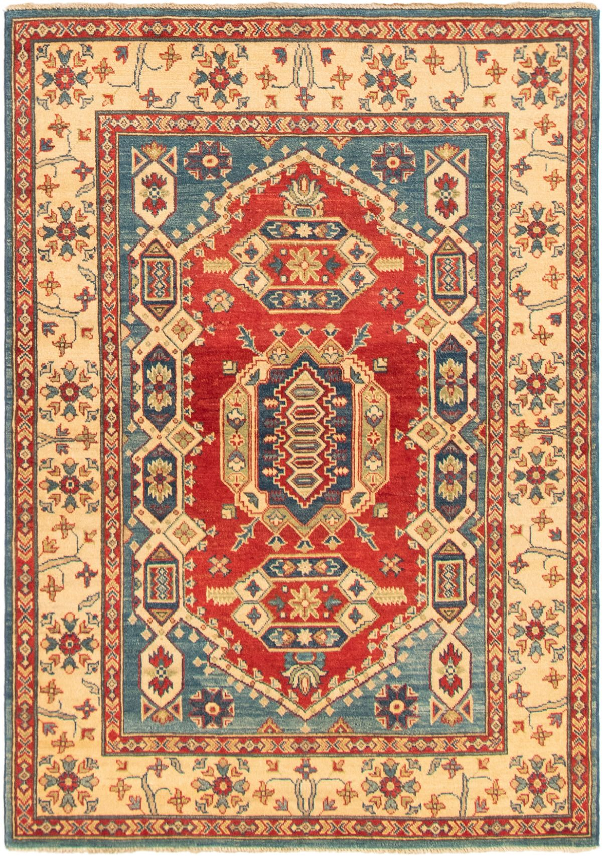 """Hand-knotted Finest Gazni Blue, Red Wool Rug 4'8"""" x 6'8"""" Size: 4'8"""" x 6'8"""""""
