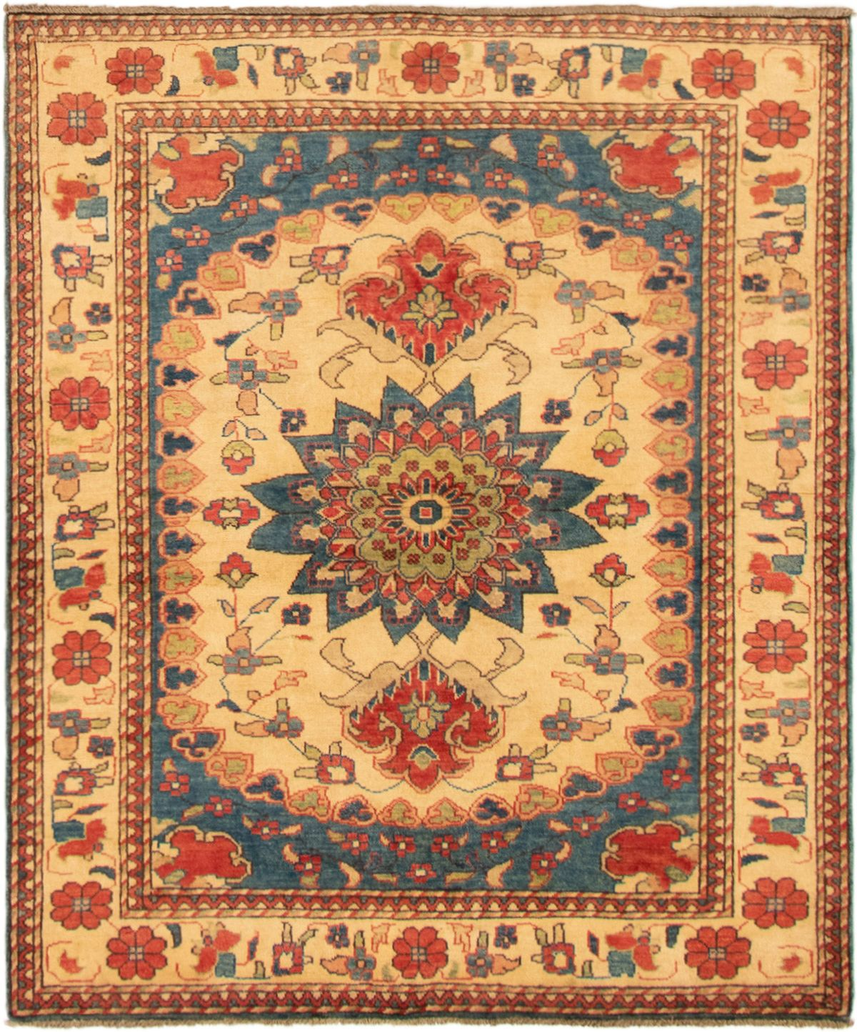 """Hand-knotted Finest Gazni Cream, Red Wool Rug 5'1"""" x 6'1"""" Size: 5'1"""" x 6'1"""""""