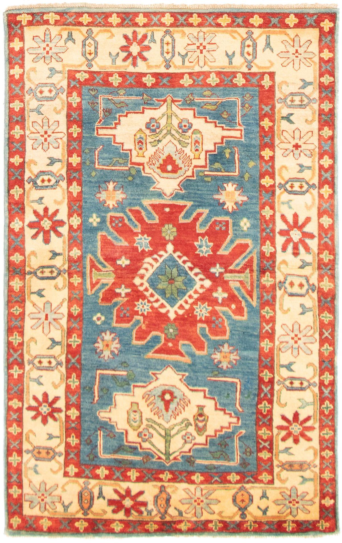"Hand-knotted Finest Gazni Dark Blue Wool Rug 3'10"" x 6'1"" Size: 3'10"" x 6'1"""
