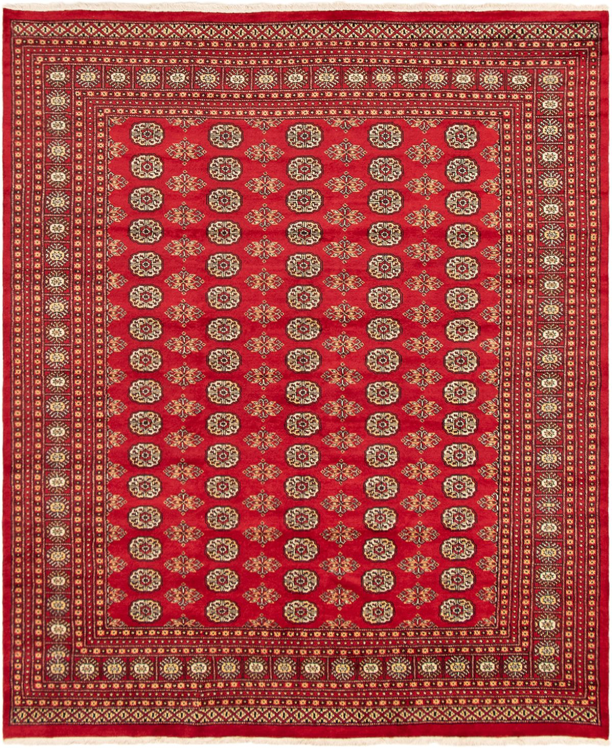 """Hand-knotted Finest Peshawar Bokhara Red Wool Rug 8'0"""" x 9'7"""" Size: 8'0"""" x 9'7"""""""