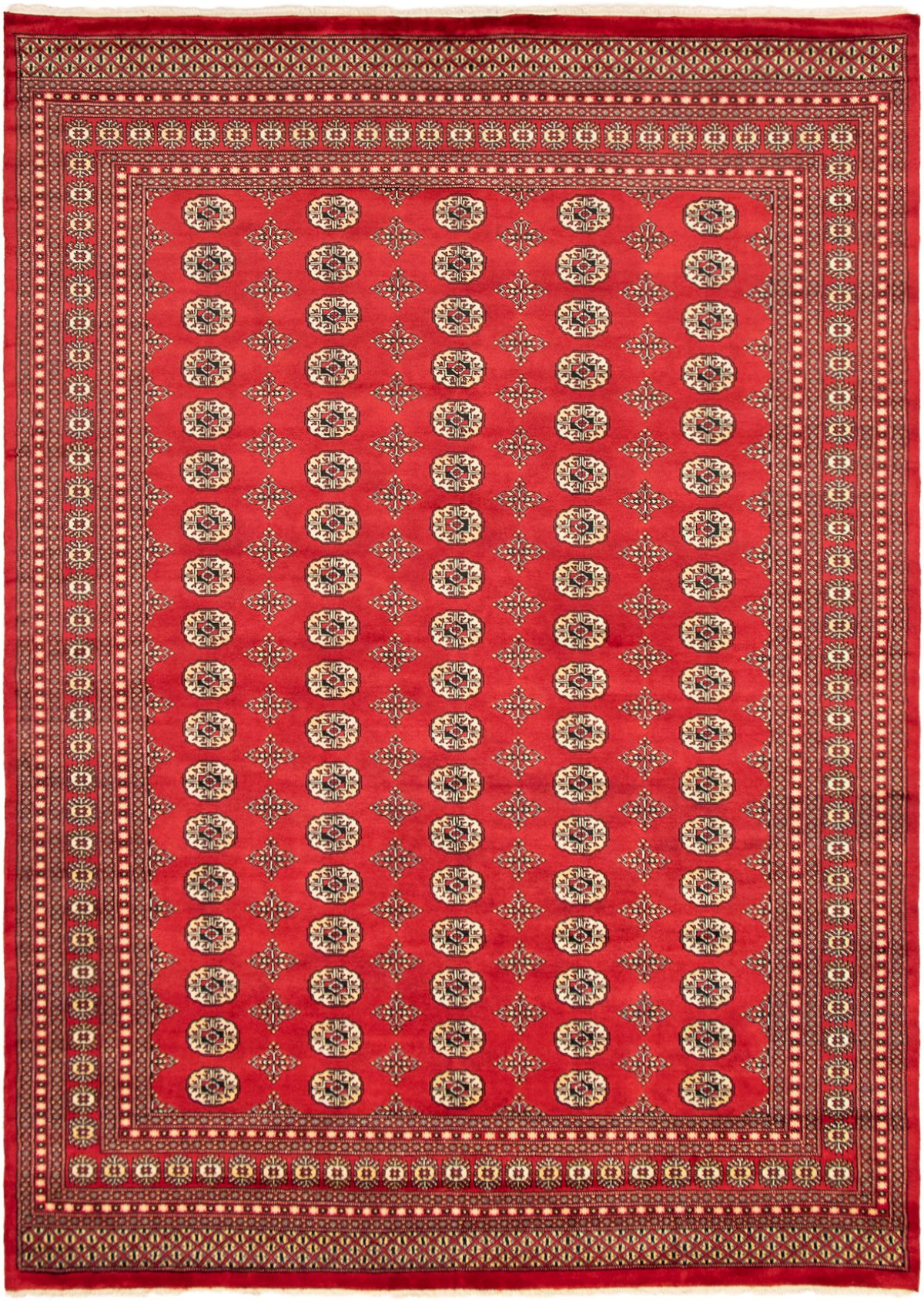 "Hand-knotted Finest Peshawar Bokhara Red Wool Rug 8'2"" x 9'5"" Product Image"