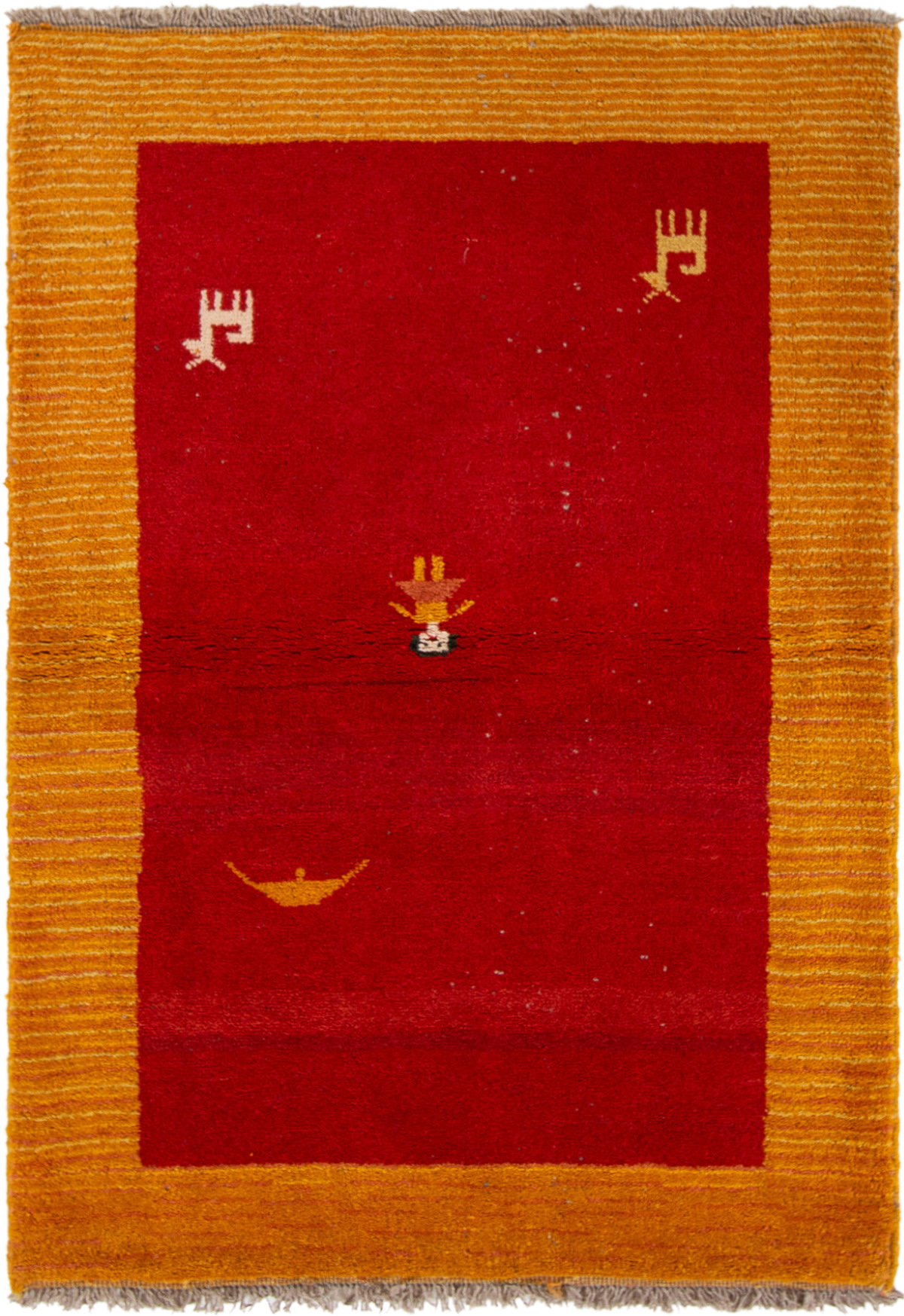 """Hand-knotted Persian Gabbeh  Wool Rug 3'11"""" x 5'4"""" Size: 3'11"""" x 5'4"""""""