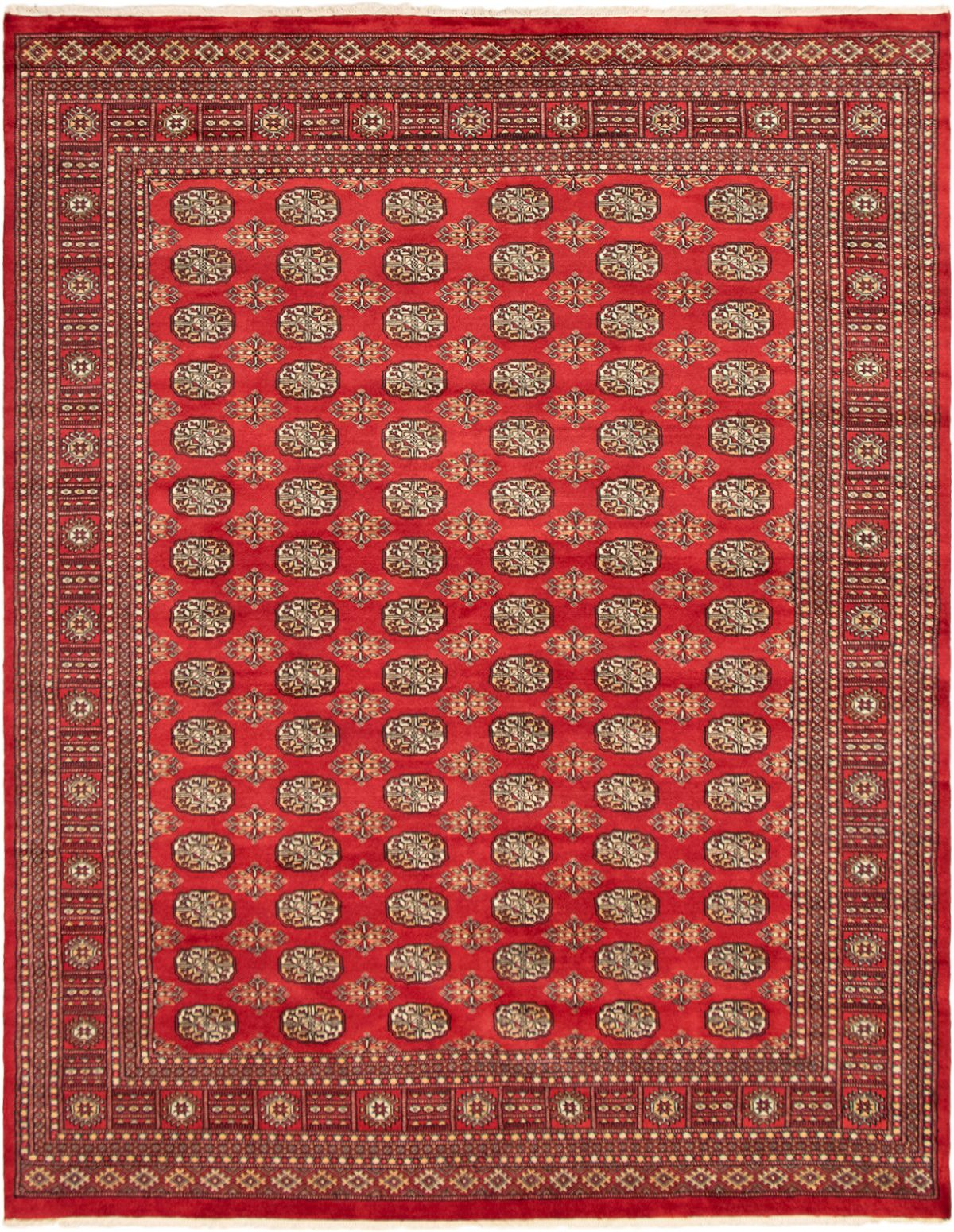 """Hand-knotted Finest Peshawar Bokhara Red Wool Rug 7'11"""" x 10'1"""" Size: 7'11"""" x 10'1"""""""