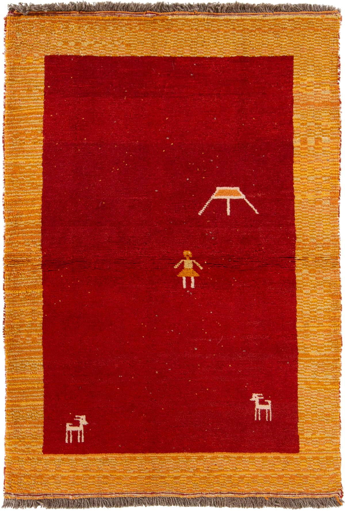 """Hand-knotted Persian Gabbeh  Wool Rug 3'8"""" x 5'3""""  Size: 3'8"""" x 5'3"""""""