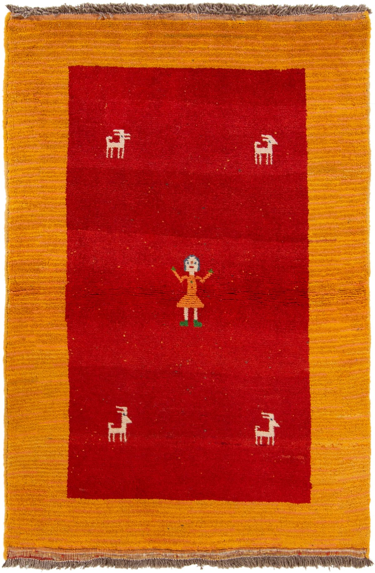 """Hand-knotted Persian Gabbeh  Wool Rug 3'10"""" x 5'3"""" Size: 3'10"""" x 5'3"""""""