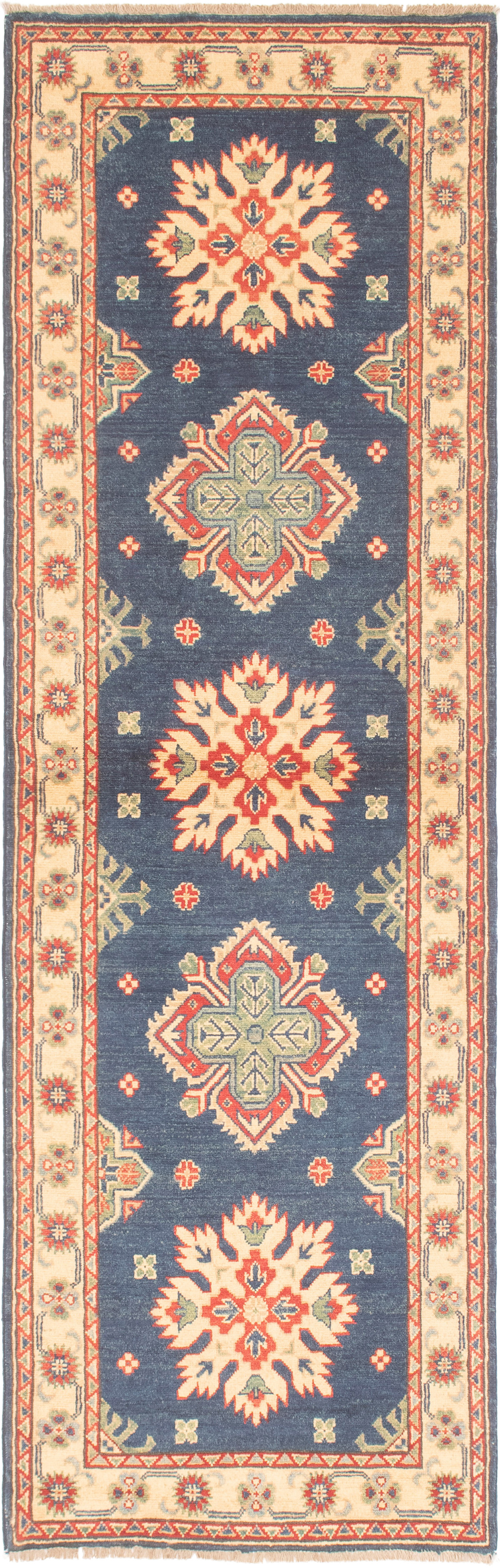 """Hand-knotted Finest Gazni Navy Blue Wool Rug 2'9"""" x 9'3"""" Size: 2'9"""" x 9'3"""""""