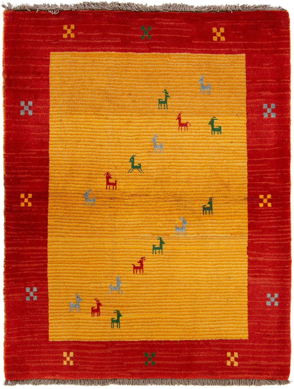 """Hand-knotted Persian Gabbeh  Wool Rug 4'5"""" x 5'9"""" Size: 4'5"""" x 5'9"""""""