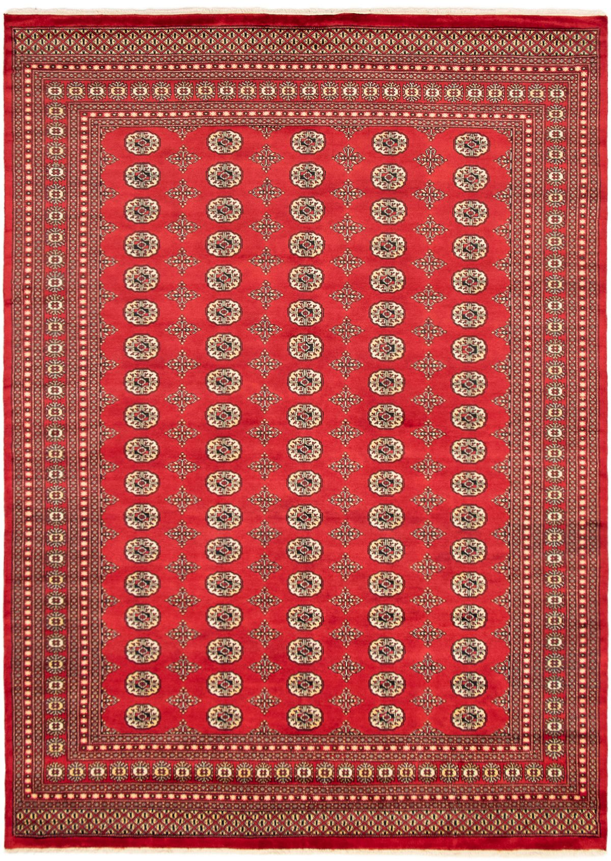 "Hand-knotted Finest Peshawar Bokhara Red Wool Rug 9'3"" x 12'2"" Size: 9'3"" x 12'2"""