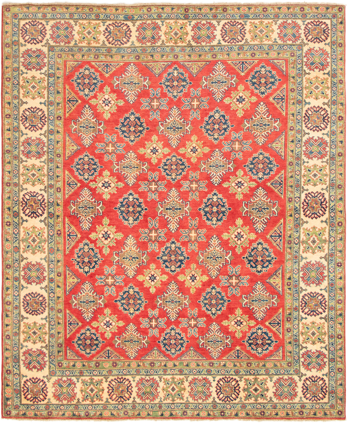 """Hand-knotted Finest Gazni Red Wool Rug 8'0"""" x 9'8"""" Size: 8'0"""" x 9'8"""""""