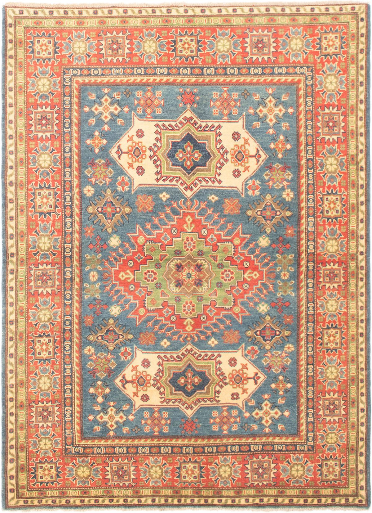 """Hand-knotted Finest Gazni Copper, Slate Blue Wool Rug 4'11"""" x 6'9"""" Size: 4'11"""" x 6'9"""""""