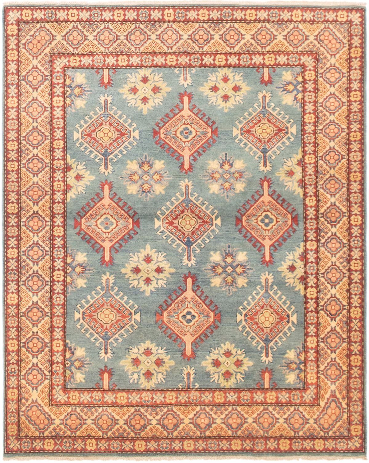 """Hand-knotted Finest Gazni Copper, Light Blue  Wool Rug 5'0"""" x 6'2"""" Size: 5'0"""" x 6'2"""""""