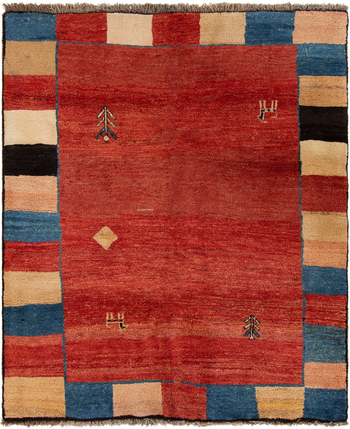 """Hand-knotted Persian Gabbeh  Wool Rug 5'1"""" x 6'2"""" Size: 5'1"""" x 6'2"""""""