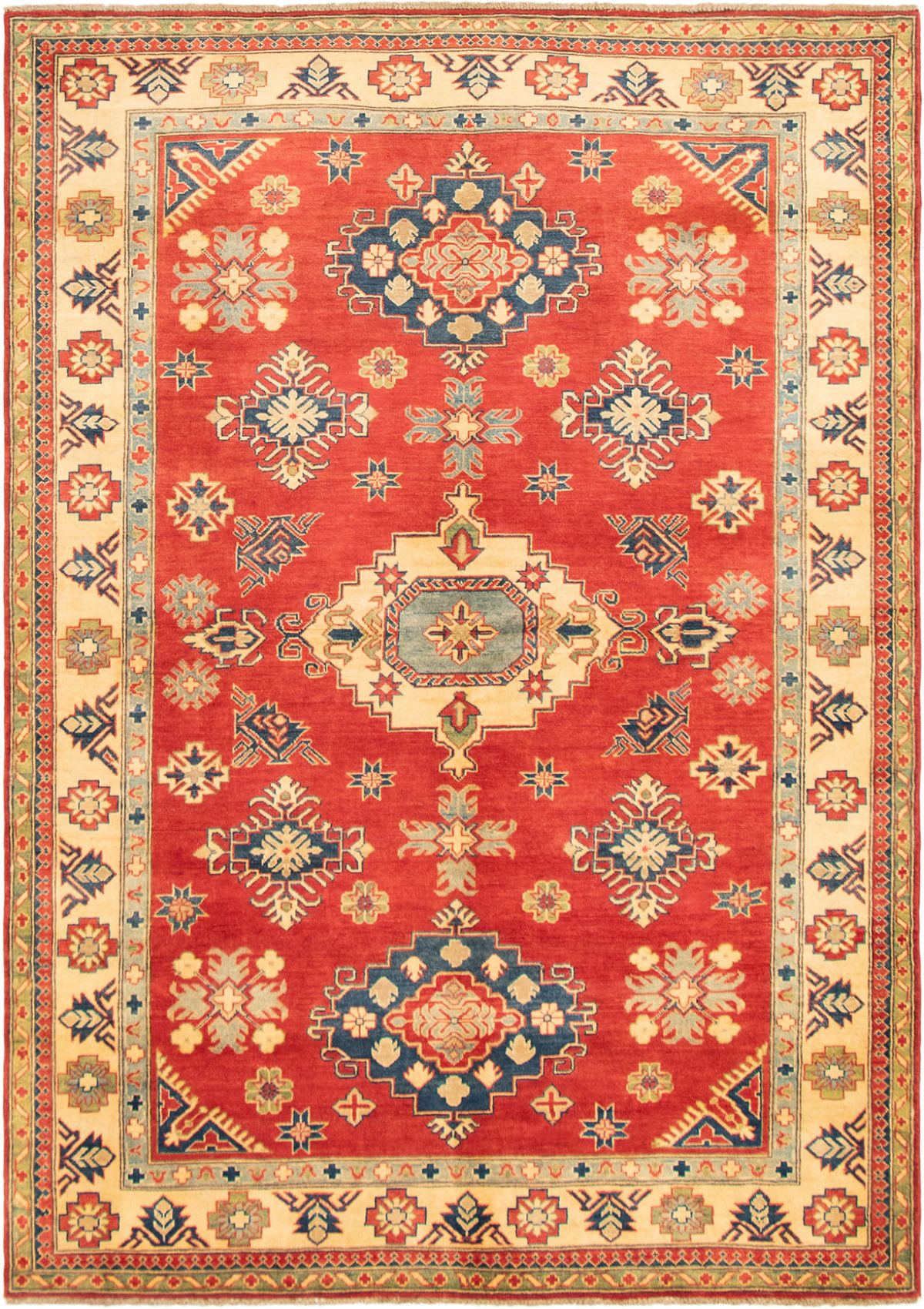 """Hand-knotted Finest Gazni Red Wool Rug 6'4"""" x 8'11"""" Size: 6'4"""" x 8'11"""""""
