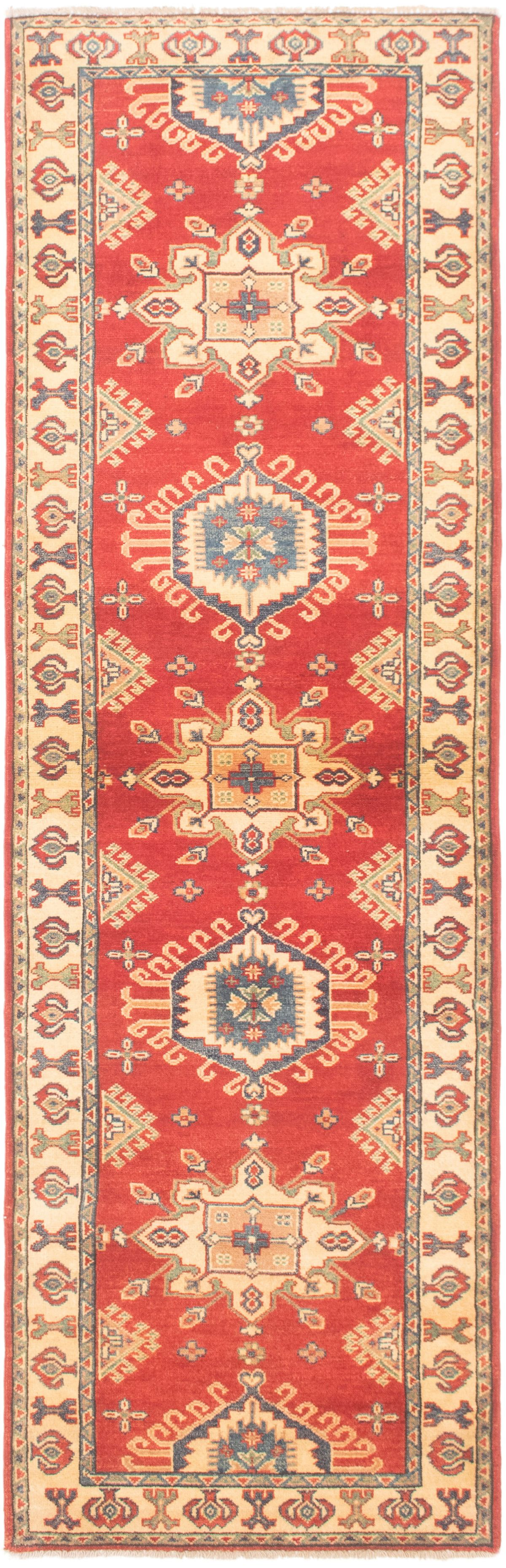 """Hand-knotted Finest Gazni Red Wool Rug 2'9"""" x 9'3""""  Size: 2'9"""" x 9'3"""""""