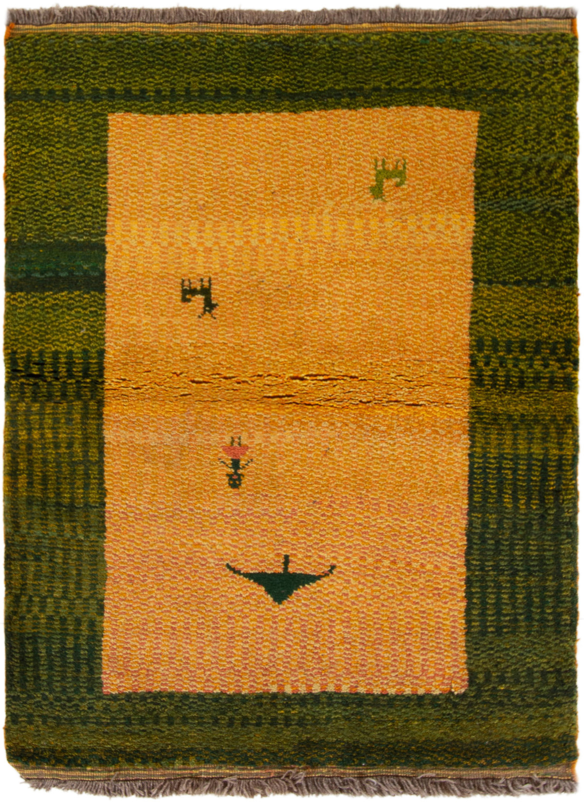 """Hand-knotted Persian Gabbeh  Wool Rug 3'10"""" x 4'5"""" Size: 3'10"""" x 4'5"""""""