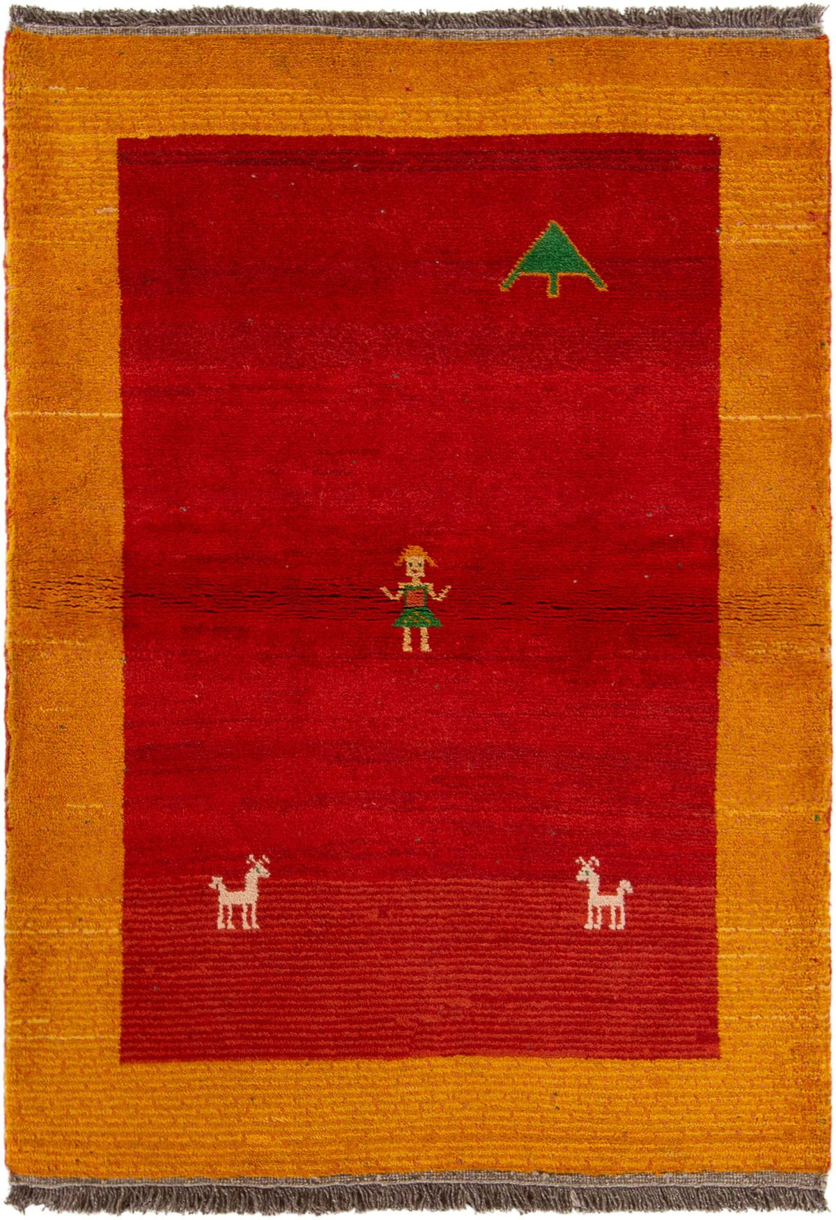 """Hand-knotted Persian Gabbeh  Wool Rug 3'10"""" x 5'5""""  Size: 3'10"""" x 5'5"""""""