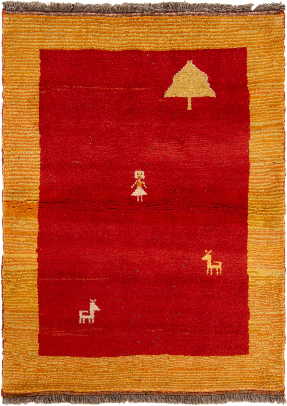 """Hand-knotted Persian Gabbeh  Wool Rug 3'7"""" x 4'11"""" Size: 3'7"""" x 4'11"""""""