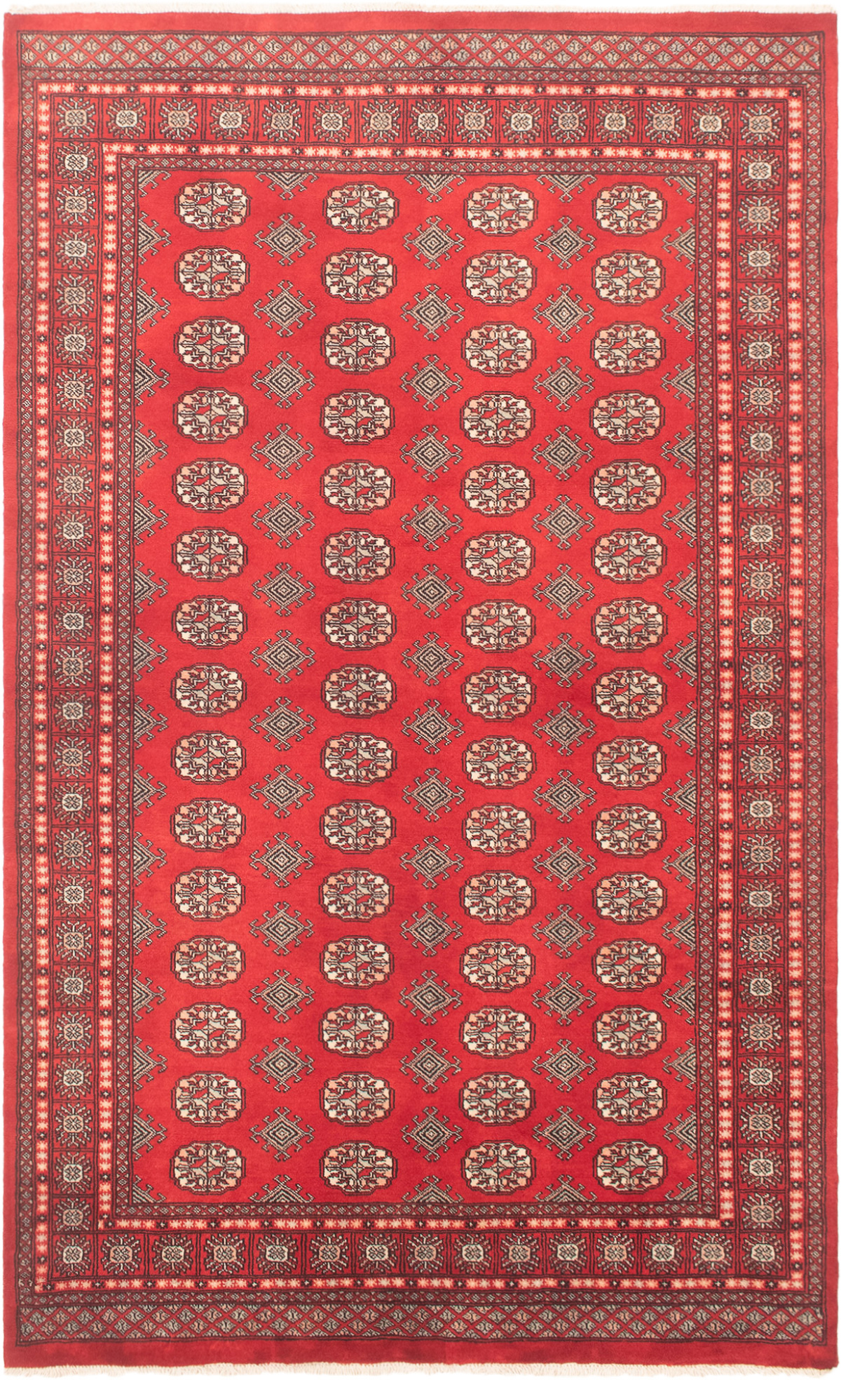 "Hand-knotted Finest Peshawar Bokhara Red Wool Rug 5'0"" x 8'2""  Size: 5'0"" x 8'2"""