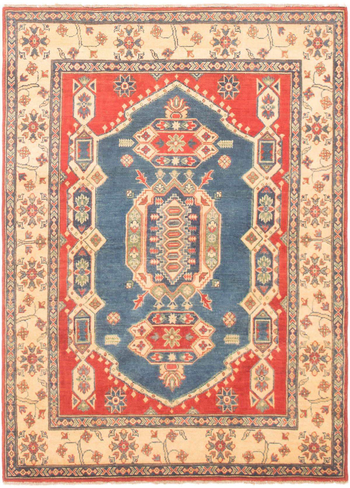 """Hand-knotted Finest Gazni Navy Blue, Red Wool Rug 4'9"""" x 6'10"""" Size: 4'9"""" x 6'10"""""""