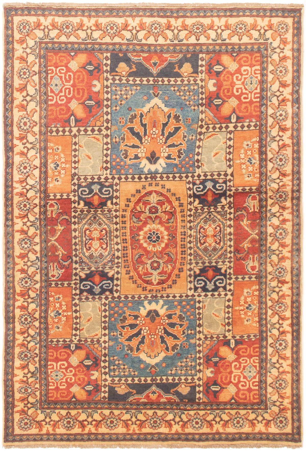"""Hand-knotted Finest Gazni Blue, Copper Wool Rug 4'2"""" x 6'2"""" Size: 4'2"""" x 6'2"""""""