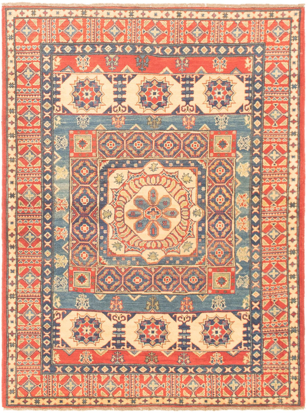 """Hand-knotted Finest Gazni Blue, Red Wool Rug 4'11"""" x 6'7"""" Size: 4'11"""" x 6'7"""""""