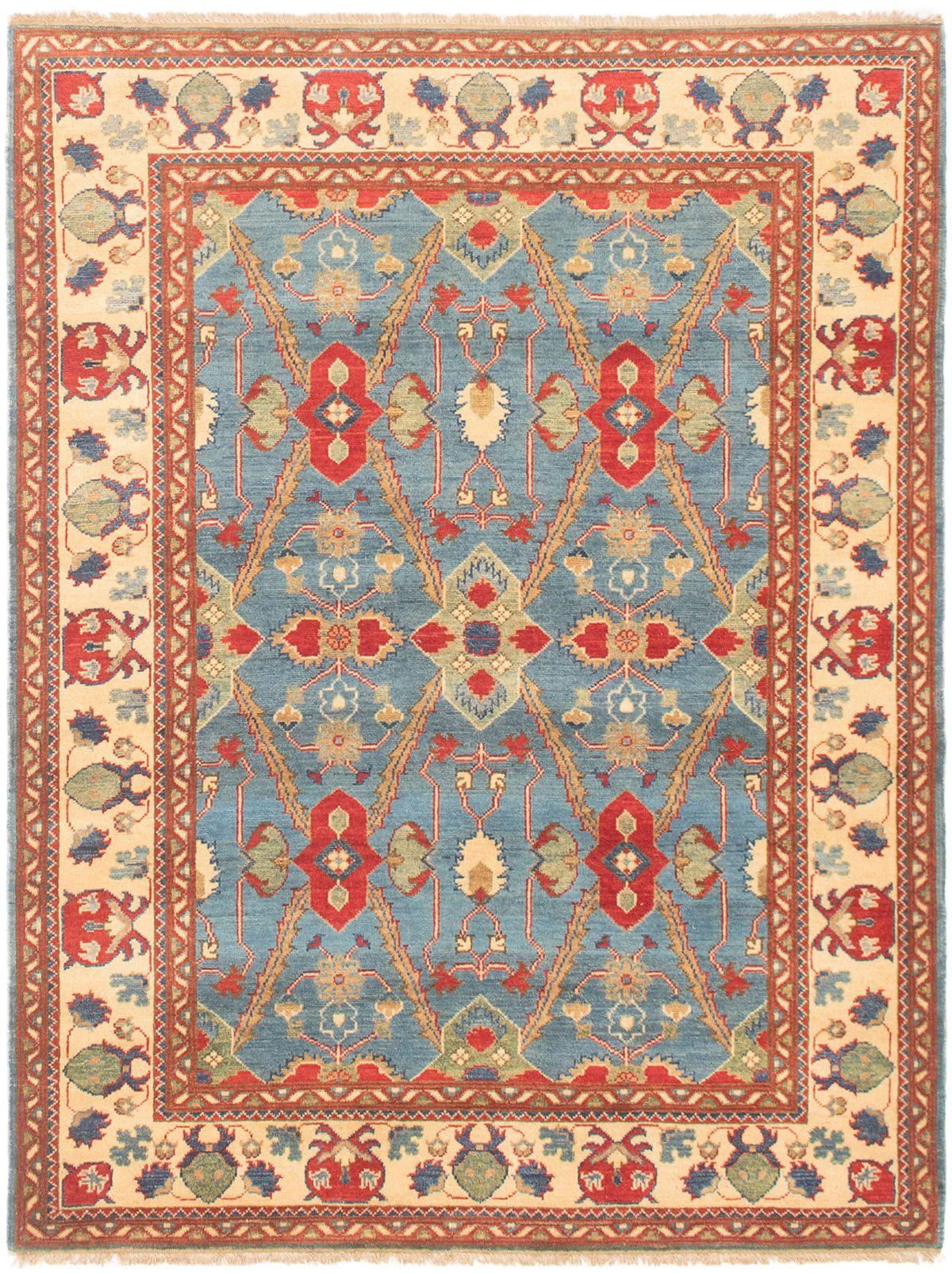 "Hand-knotted Finest Gazni Sky Blue Wool Rug 4'11"" x 6'5"" Size: 4'11"" x 6'5"""