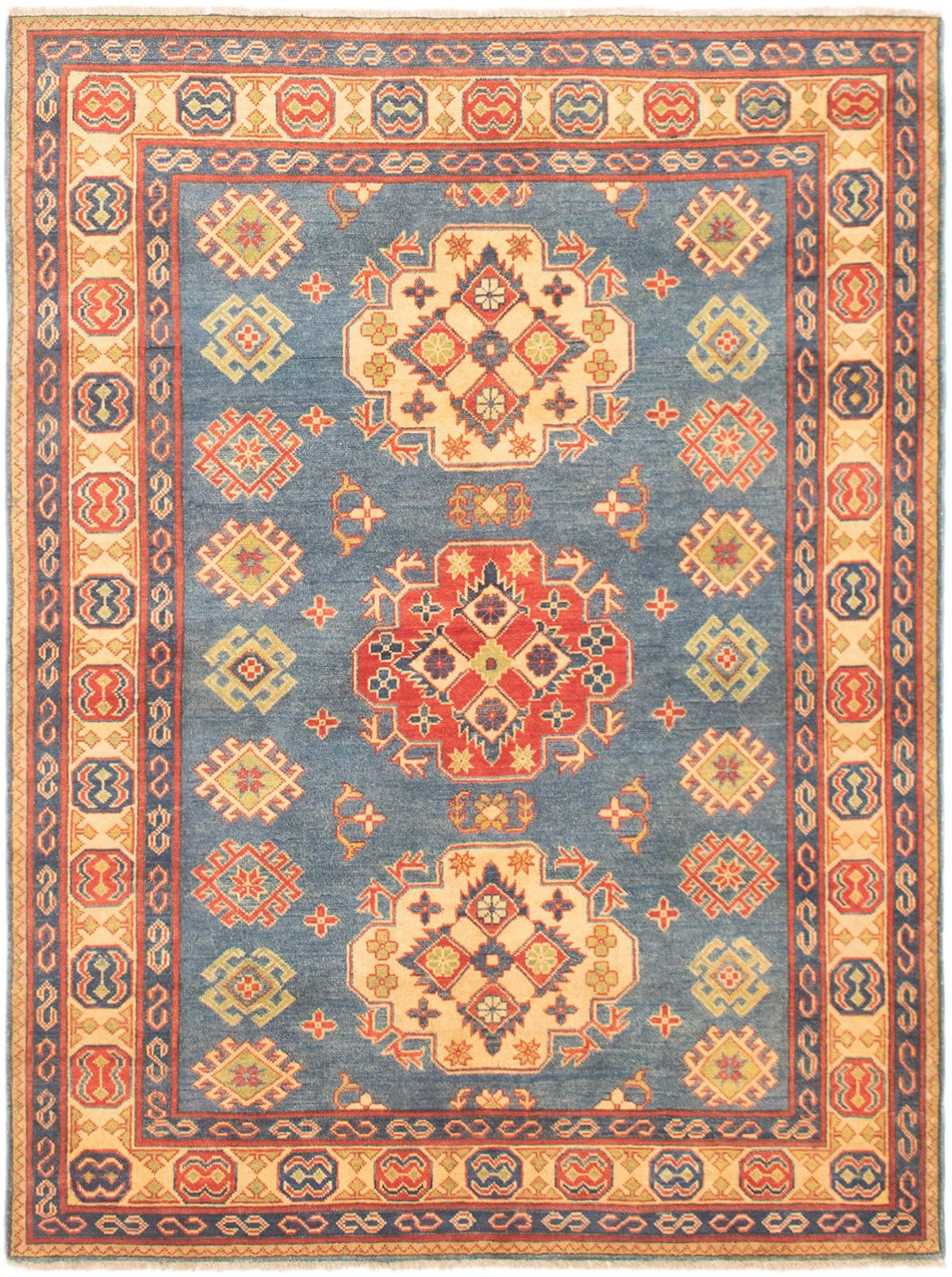 """Hand-knotted Finest Gazni Blue Wool Rug 4'1"""" x 6'8"""" Size: 4'1"""" x 6'8"""""""
