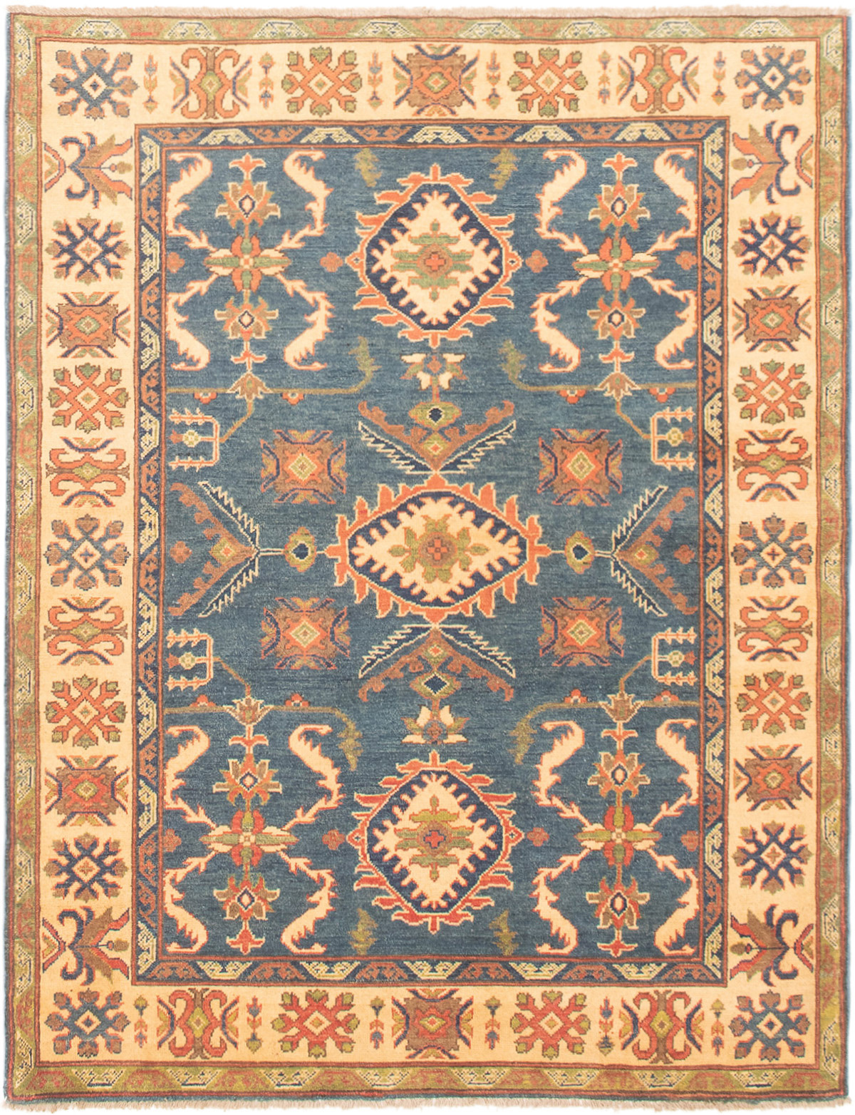 """Hand-knotted Finest Gazni Navy Blue Wool Rug 5'1"""" x 6'4""""  Size: 5'1"""" x 6'4"""""""