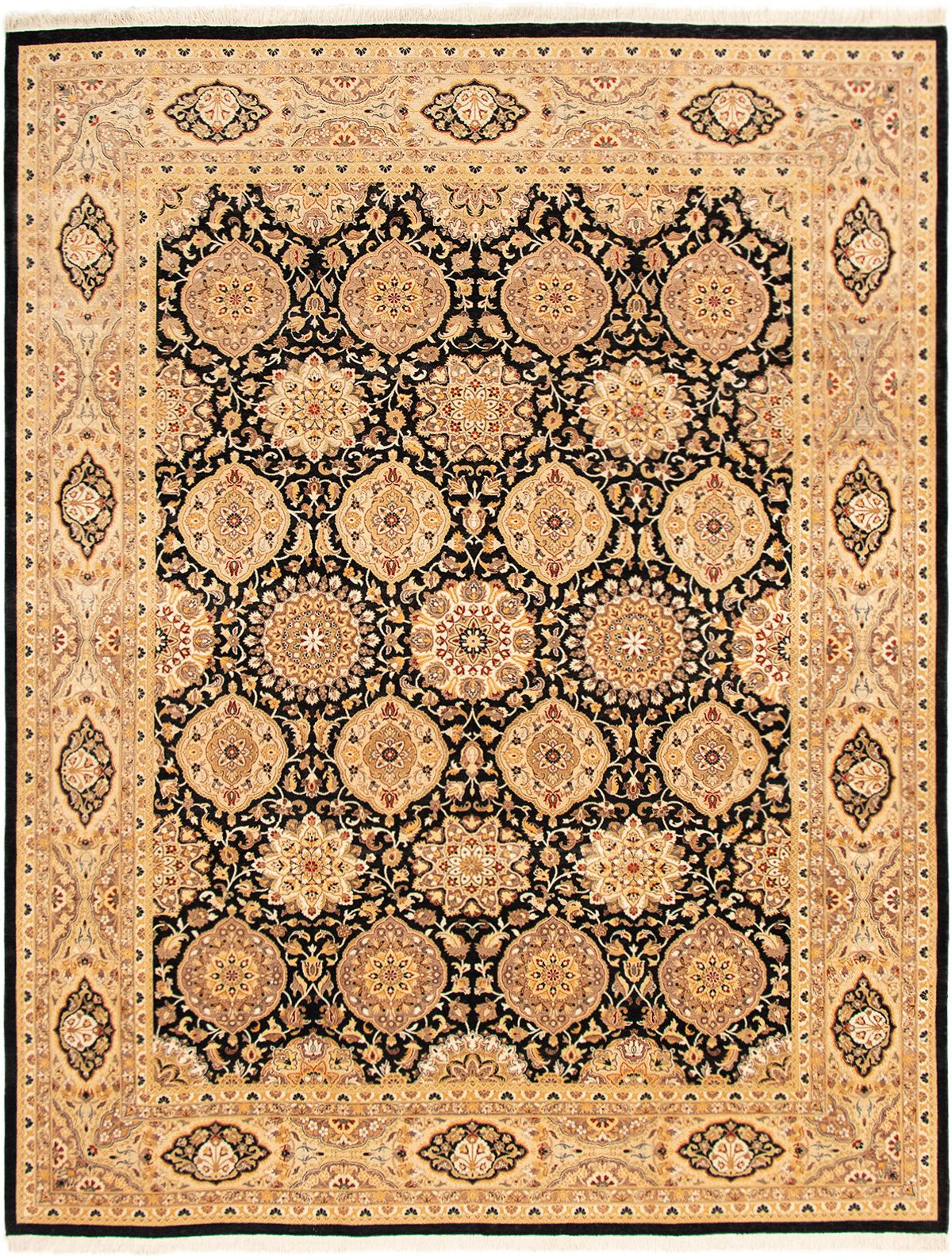 """Hand-knotted Pako Persian 18/20 Black  Rug 9'2"""" x 11'10"""" Size: 9'2"""" x 11'10"""""""
