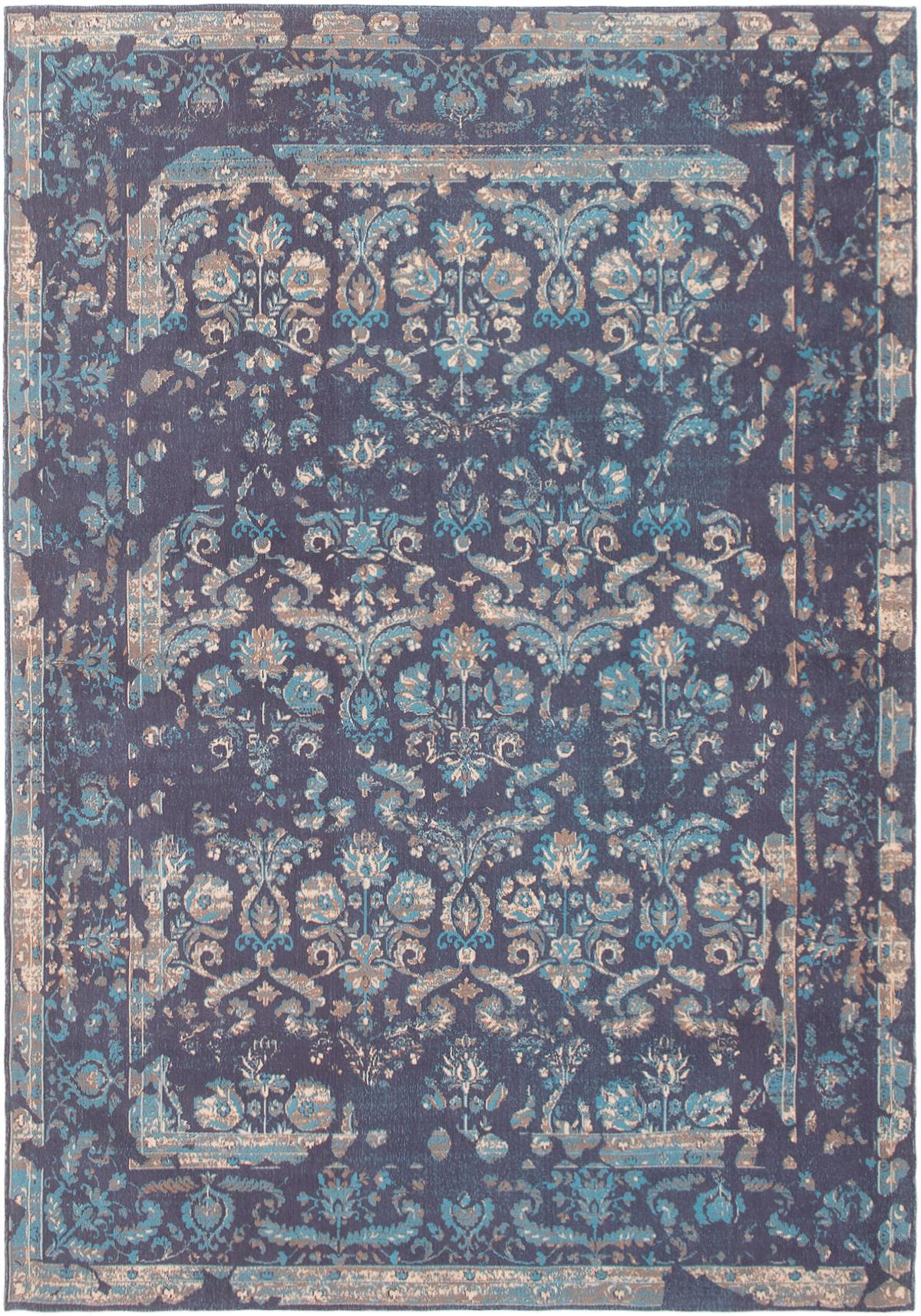 """Handmade Collage Dark Blue Chenille Rug 5'3"""" x 7'8"""" Size: 5'3"""" x 7'8"""""""