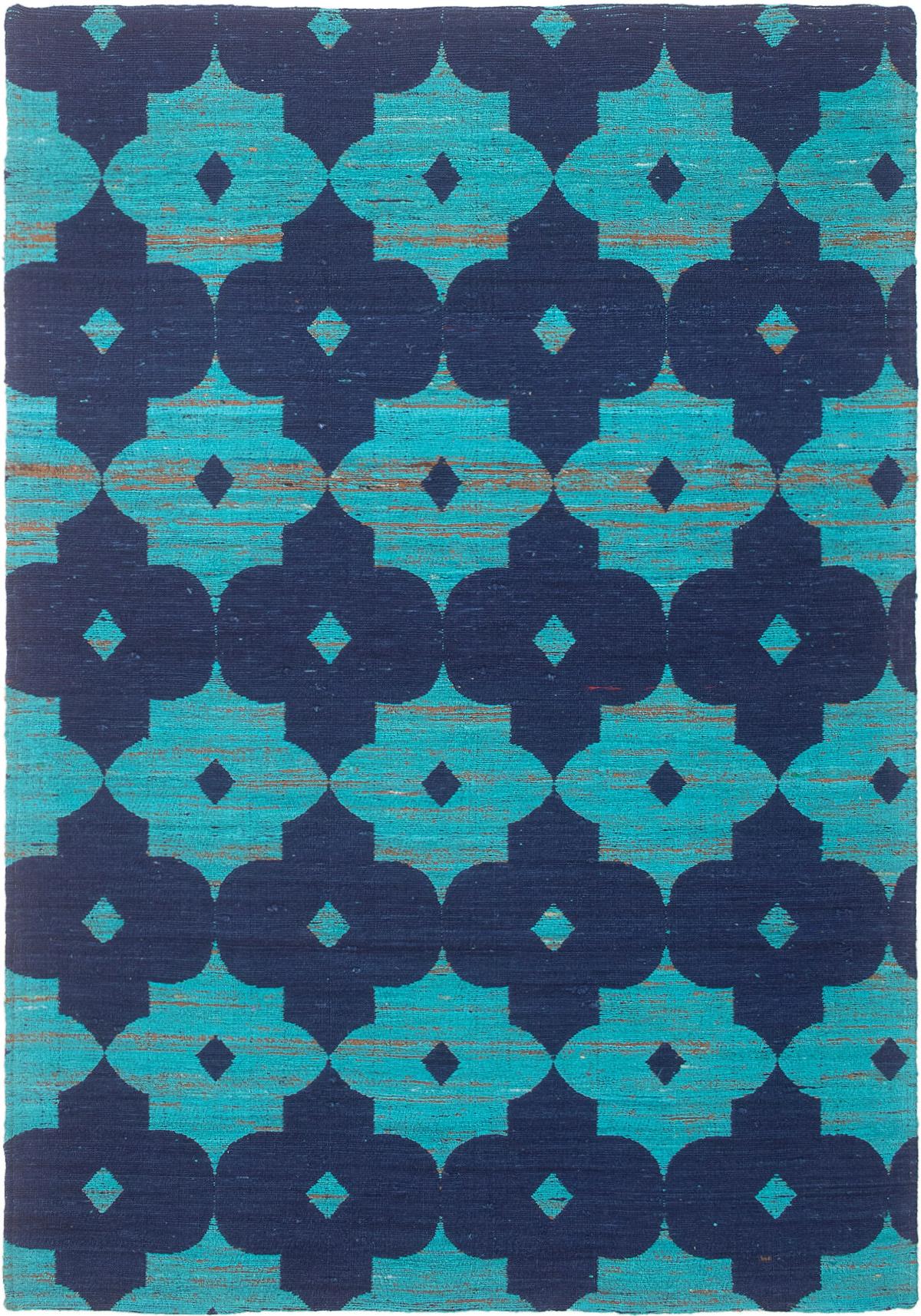 "Handmade Collage Dark Blue, Turquoise Chenille Rug 5'1"" x 7'4"" Size: 5'1"" x 7'4"""