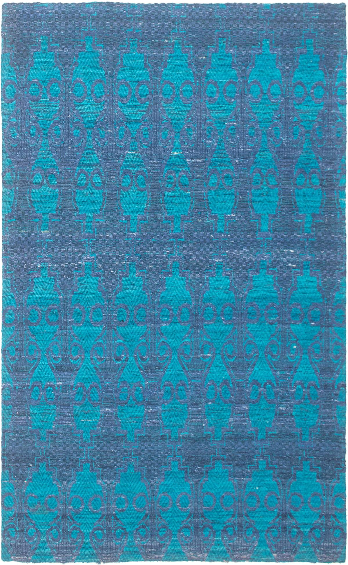 """Handmade Collage Dark Blue Chenille Rug 4'11"""" x 7'11"""" Size: 4'11"""" x 7'11"""""""