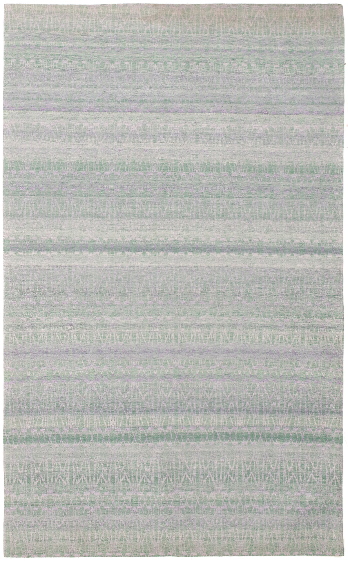 "Handmade Collage Green, Light Blue  Chenille Rug 5'2"" x 8'5"" Size: 5'2"" x 8'5"""