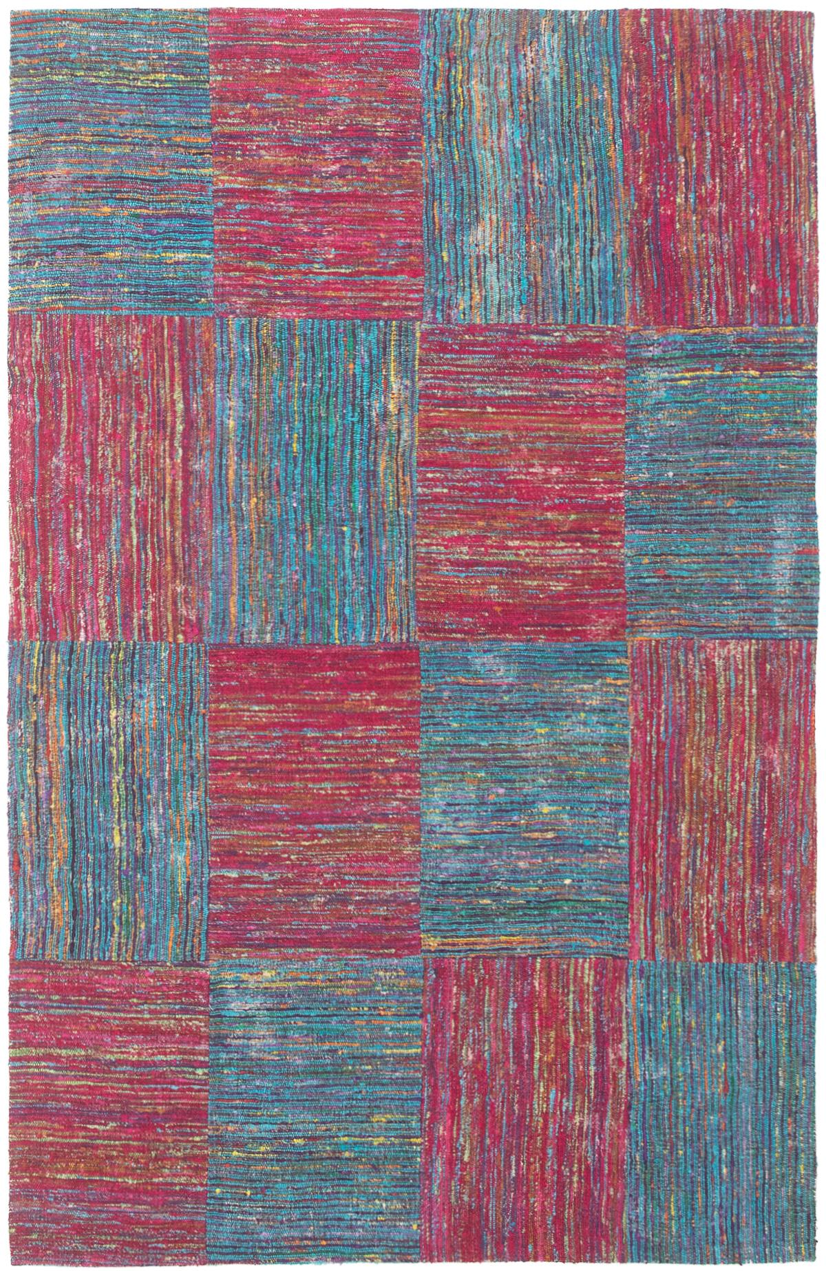 """Handmade Collage Burgundy, Dark Blue Chenille Rug 5'0"""" x 7'11"""" Size: 5'0"""" x 7'11"""""""