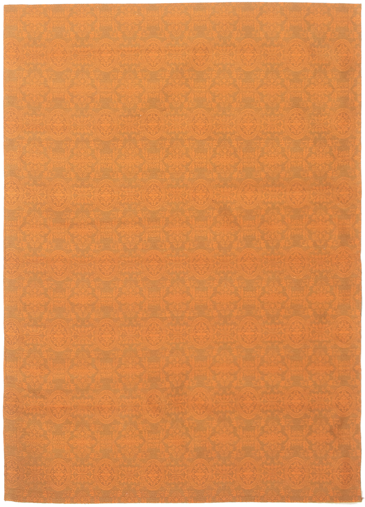 "Handmade Collage Burnt Orange Chenille Rug 4'9"" x 6'9""  Size: 4'9"" x 6'9"""