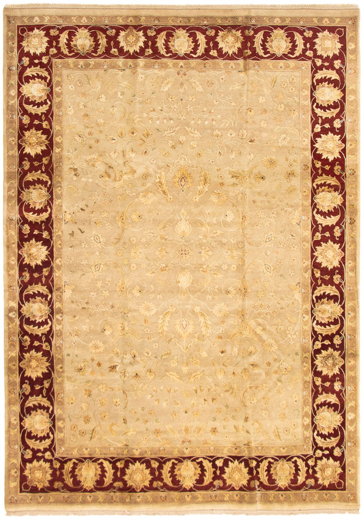 "Hand-knotted Harrir Select Tan Wool/Silk Rug 8'7"" x 12'1"" Size: 8'7"" x 12'1"""