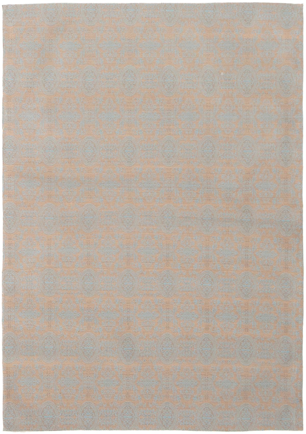"Handmade Collage Light Blue , Tan Chenille Rug 4'9"" x 6'9"" Size: 4'9"" x 6'9"""