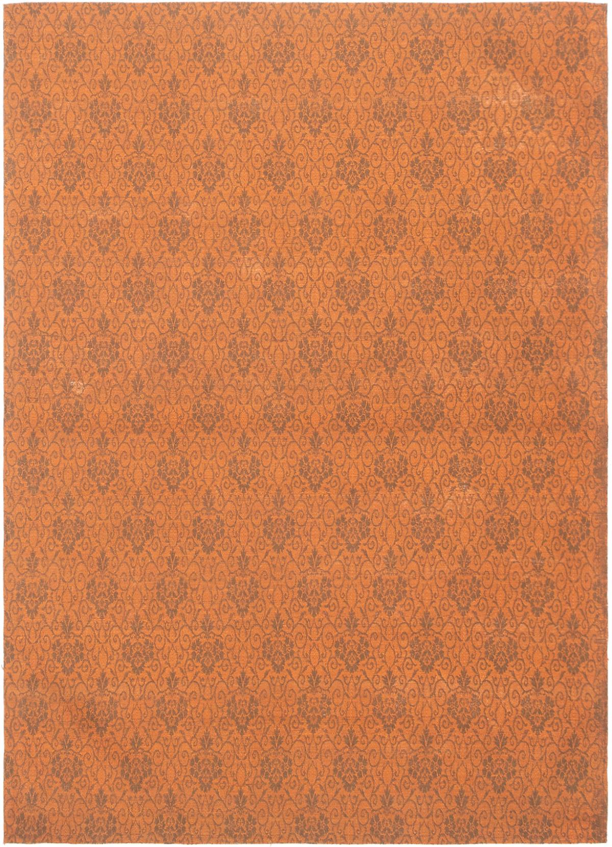 """Handmade Collage Burnt Orange, Dark Grey Chenille Rug 5'6"""" x 7'9"""" Size: 5'6"""" x 7'9"""""""
